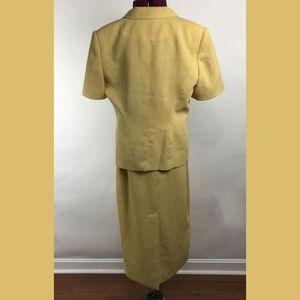 Morgan Miller Mustard Yellow Skirt Suit Sz 10